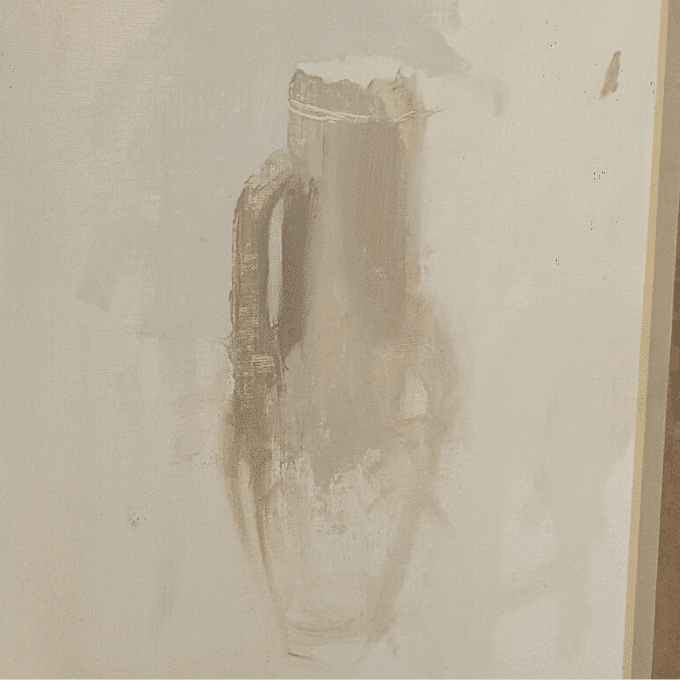 clay jug still life painting in progress