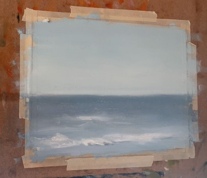 painting large waves in an ocean painting