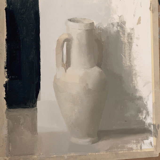 still life painting of a jug near completion