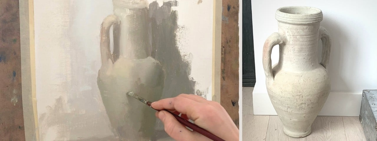 painting still life of a clay jug that is different shades of white