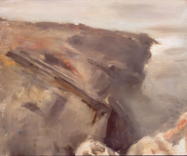 abstract painting example of rock by rushing water