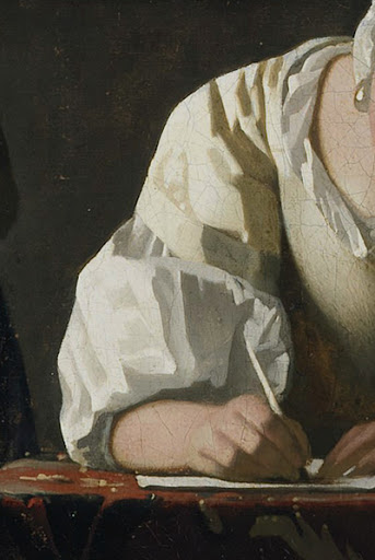 vermeer closeup of a woman writing with a quill