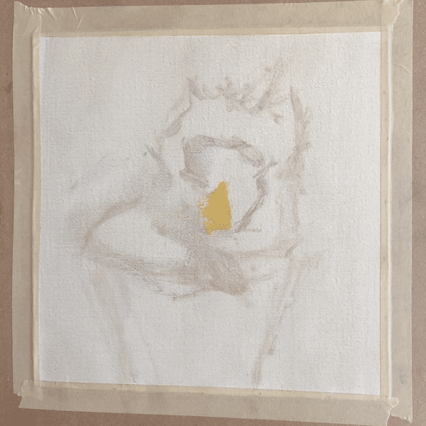 A light yellow color on a canvas, the beginning of a sunflower painting