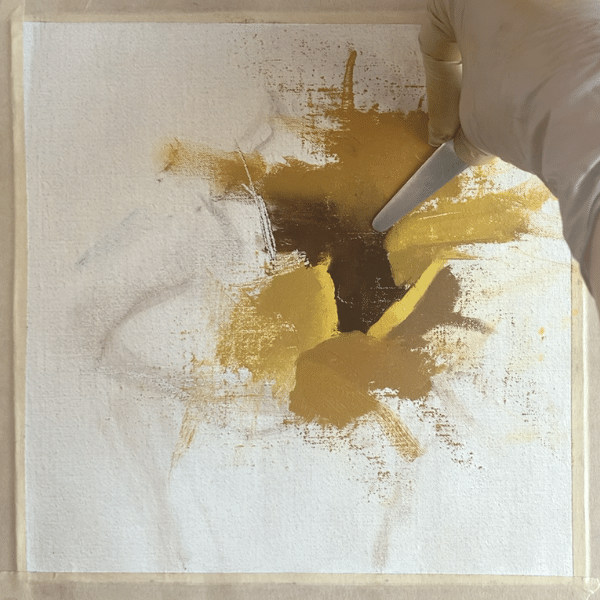 How to paint sunflowers by creating edges using a palette knife