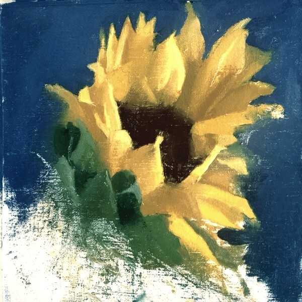 Partially painted yellow sunflower
