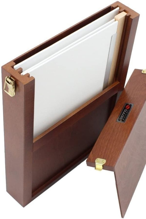 product image of a dark wood colored Sienna brand art carrying case