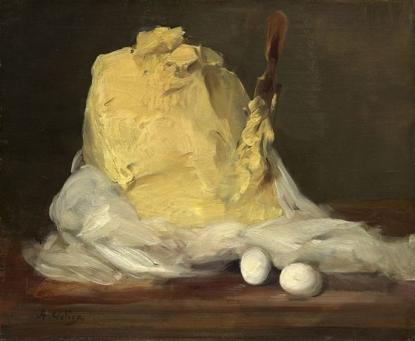 painting of butter on a table with white cloth. Painting ideas of food