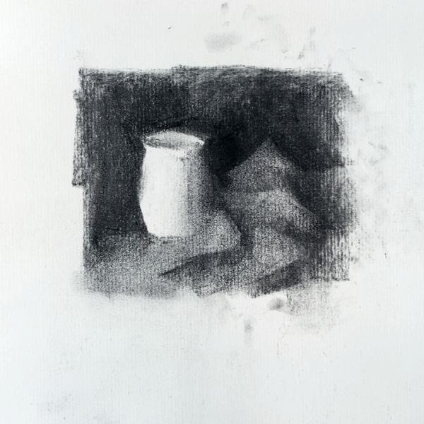 Completed thumbnail sketch drawing study of a vase
