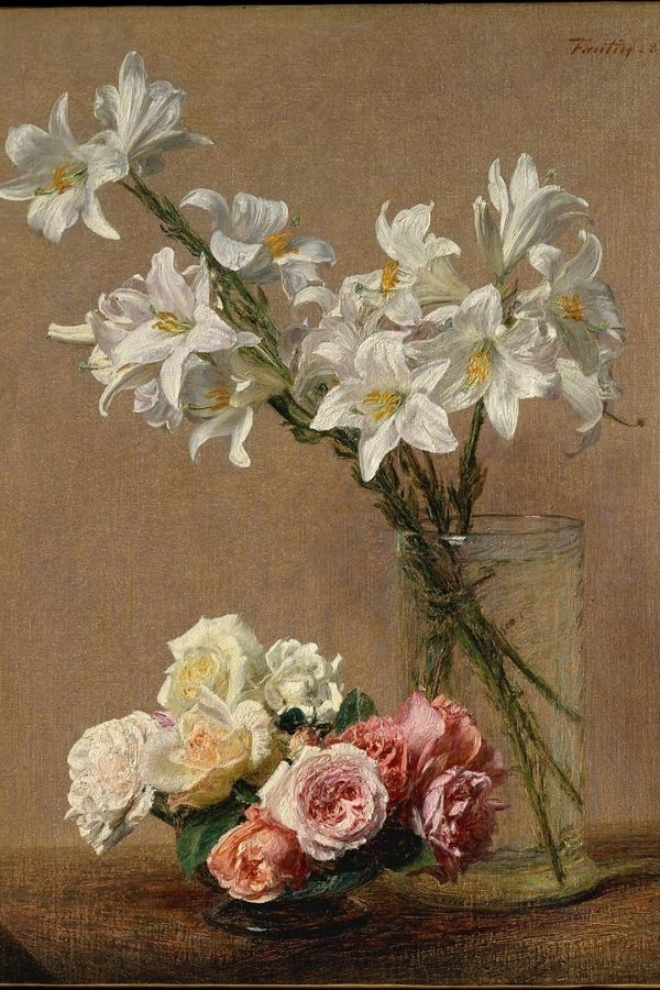 white flower bouquet old master painting ideas with roses and lilies