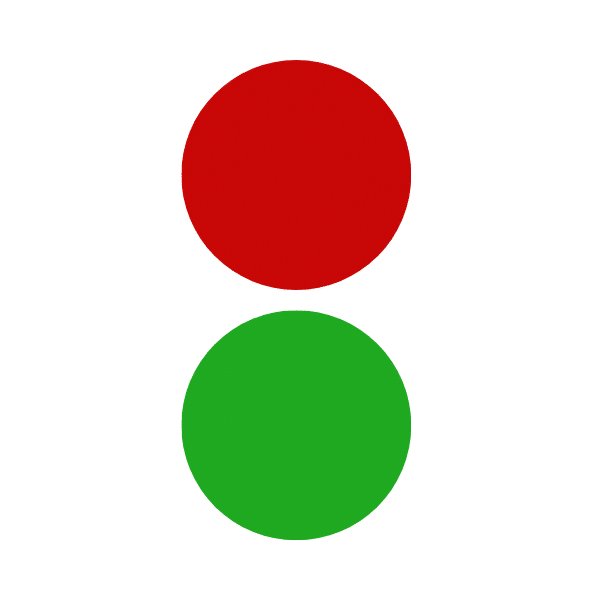 red and green color circles showing what color does green and red make