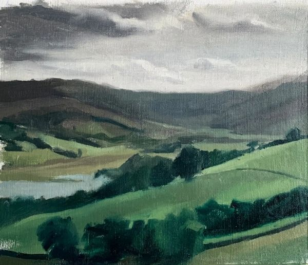landscape painting inspiration of a green valley