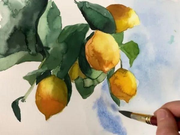 lemon watercolor painting tutorial how to