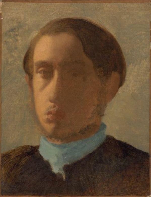 Edgar Degas self portrait painting ideas with beige background