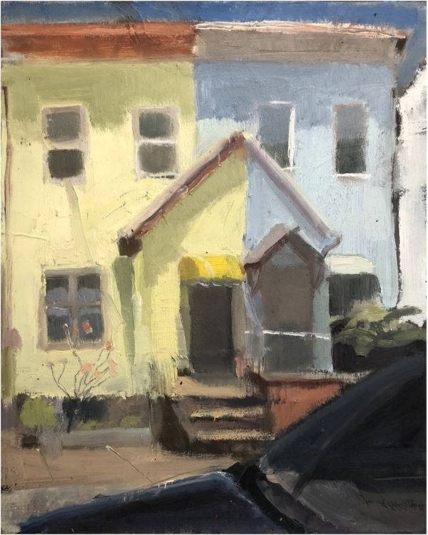 painting ideas of a neighborhood yellow and blue townhouse with car