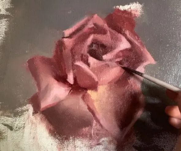 pink rose oil painting in process