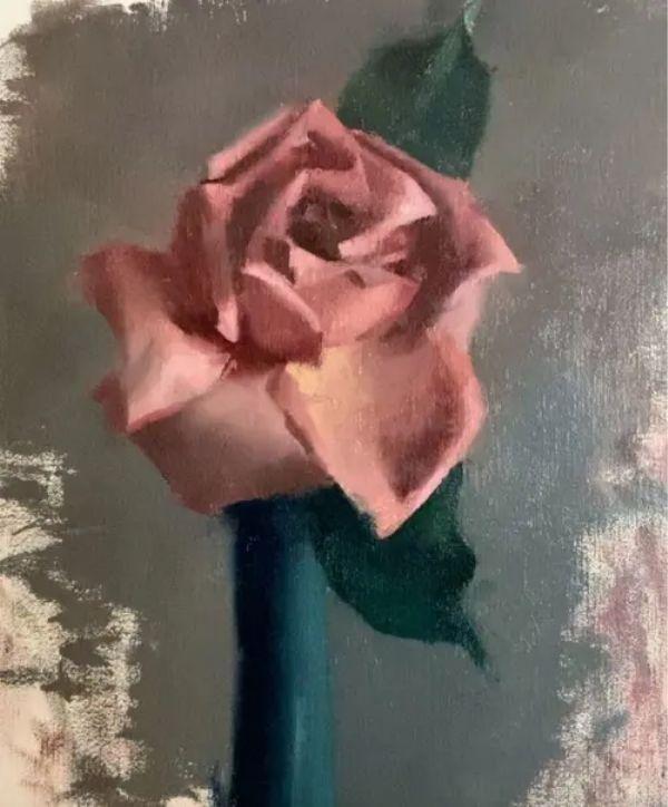 rose flower oil painting ideas for beginners