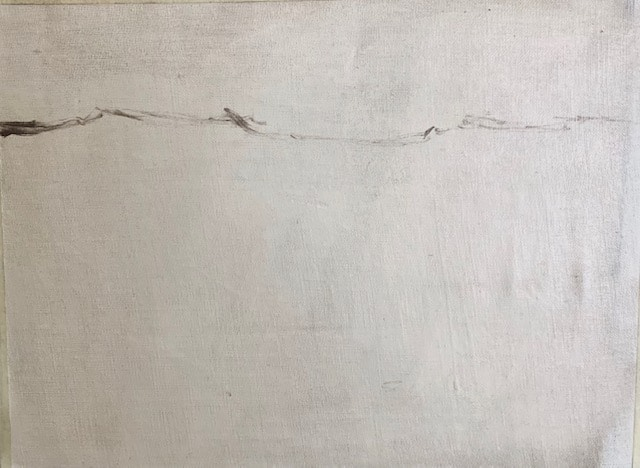 sketching painting of a landscape starting with a horizontal line
