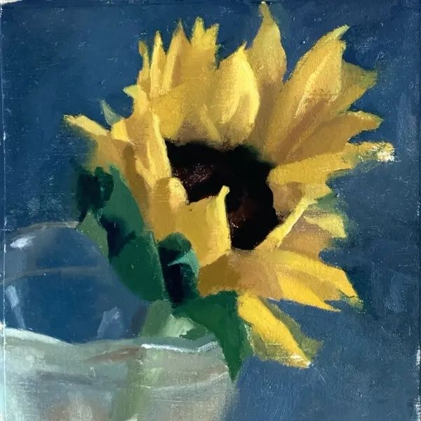 bright yellow sunflower oil painting with blue background in glass vase